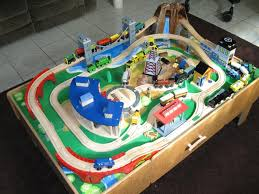 thomas the train wooden track table imaginarium classic train table with roundhouse wooden train