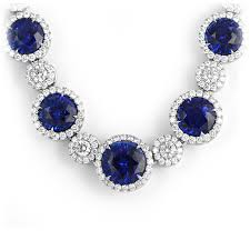 jewelry blue sapphire necklace images Royal blue sapphire diamond halo necklace wixon jewelers jpg