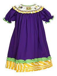 mardi gras baby clothes le za me baby smocked mardi gras bishop dress