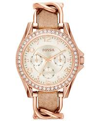 fossil steel leather bracelet images Fossil women 39 s riley rose gold tone chain and bone leather strap tif
