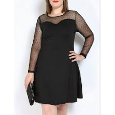 wholesale plus size mesh panel long sleeve a line dress in black