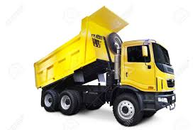 dump truck a big yellow dump truck isolated on white stock photo picture and