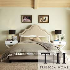 Curved Upholstered Headboard by Purchase Tribecca Home Esmeral Beige Linen Nailhead Arch Curved