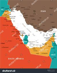 Map Of Persian Gulf Persian Gulf Map Detailed Vector Illustration Stock Vector