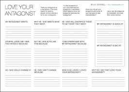 love your antagonist writing worksheet wednesday