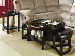 coffee table bewitch round coffee table with storage ottomans