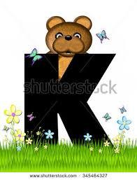 letter k alphabet set teddy butterfly stock illustration 345464327