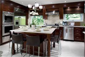 luxury kitchen design with big stainless steel oven cabinet