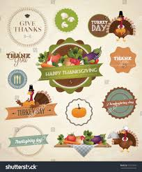 thanksgiving titles thanksgiving day harvest labels stamps stock vector 160731818