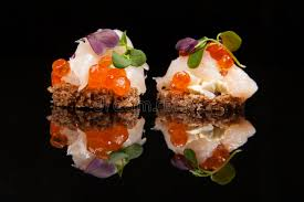 healthy canapes dinner salmon cheese and herbs canapes stock photo image of bread