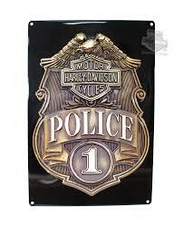 2010161 harley davidson tin sign hd police shield barnett