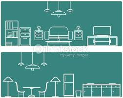 home interior vector interior banner set with furniture illustration vector