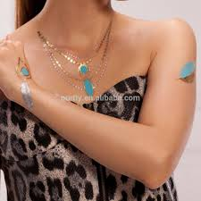 tattoo necklace jewelry images Fashion jewelry temporary tattoos gold foil necklace tattoo jpg