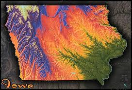 Topographic Map Usa by Colorful Iowa Topography Map Bold Looking Physical Terrain