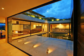 courtyard lighting water feature ar house in la calera colombia