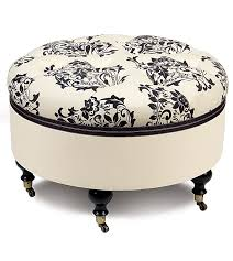 furniture ornate black and white upholstered ottoman with wheels