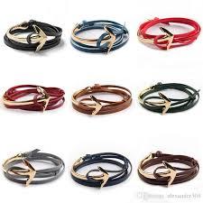 leather wrap anchor bracelet images Anchor leather wrap bracelet women and men multilayered leather jpg