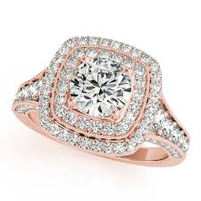 engagement rose rings images Square double halo diamond engagement ring 14k rose gold 2 00ct jpg