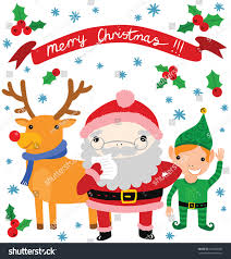 cute santa helpers elf reindeer stock vector 166048550