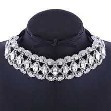 silver necklace woman images Lady wedding women 39 s chokers silver necklace rhinestone princess JPG