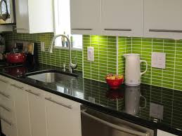 small kitchen design and decoration using light green glass tile