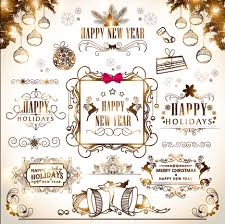 2015 with new year calligraphic ornament vector vector