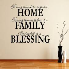 beautiful family quotes wall decals in living room interior