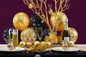 black and gold centerpieces for tables new years eve dinner table setting stock photo image of food