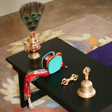 tibetan ritual prayer flags and items for buddhist meditation