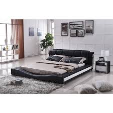 White Leather Platform Bed Cadillac Black Leather Platform Bed Contemporary Panel Beds For