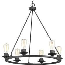 Progressive Lighting Chandeliers Progress Lighting Debut Collection 6 Light Graphite Chandelier