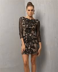 short mini black lace backless cocktail evening dress with sleeves