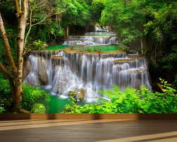 Fabric Wall Murals by Wall Mural Waterfall In Deep Forest Peel And Stick