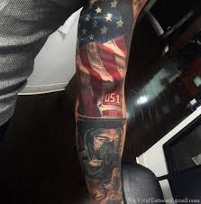 american flag and fireman sleeve tattoo inkstylemag