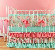 Aqua And Pink Crib Bedding by Bedding Modern Neutral Crib Bedding Modern Gender Neutral Crib