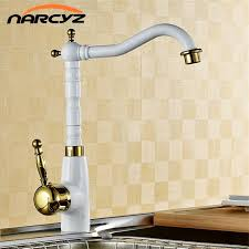 wholesale kitchen faucets white paint with gold single handle brass crane kitchen
