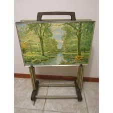 Tv Tray Table Vintage 4 Season Motif Folding Tv Tray Tables U0026 Cart Set Of 4