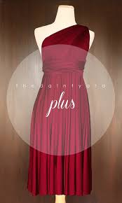 plus size short straight hem wine red infinity dress convertible