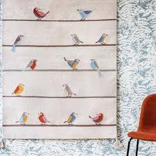 woollen kilim birds rug multicoloured art for kids design