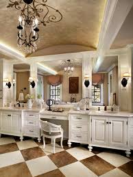 Bathroom Vanities With Sitting Area by Luxurious Master Bathroom Featured Checkered Floor Tile And Double
