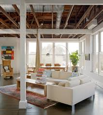wood industrial design with great room living room industrial and