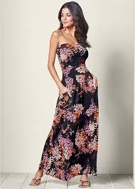 floral maxi dress strapless floral maxi dress in black multi venus