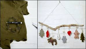 make cute christmas ornaments with old sweaters and cookie cutters