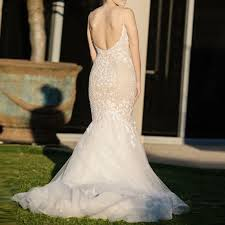 backless lace wedding dresses mermaid backless spaghetti straps court lace wedding dress