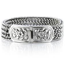 solid sterling silver mens bracelet images Lock on flowers men bracelet vy jewelry jpg