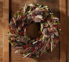 turkey feather wreath live turkey pheasant wreath mantle pottery barn