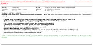 Dietitian Resume Sample by Semiconductor Process Engineer Cv Work Experience Samples