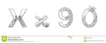 n vanda freehand pencil sketch font stock illustration image