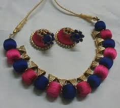 necklace making set images Pink and dark blue silk thread jewellery set fashionous jpg