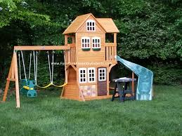 cedar summit summerstone playset assembled for a customer in